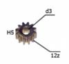 Шестерня двигателя шуруповерта (17) внутр.d 3мм, внеш.d 8,6мм, высота 5мм, 12 зубов