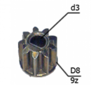 Шестерня двигателя шуруповерта (2) внутр.d 3мм под шпонку, внеш.d 8мм, высота 7,4мм, 9 зубов