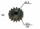 Шестерня двигателя шуруповерта (6) внутр.d 2,5мм, внеш.d11мм, высота 5мм, 15 зубов